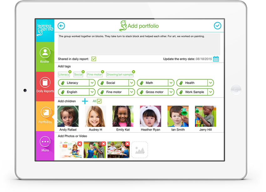 For educators - Childcare Portfolio and Report- Learning Genie