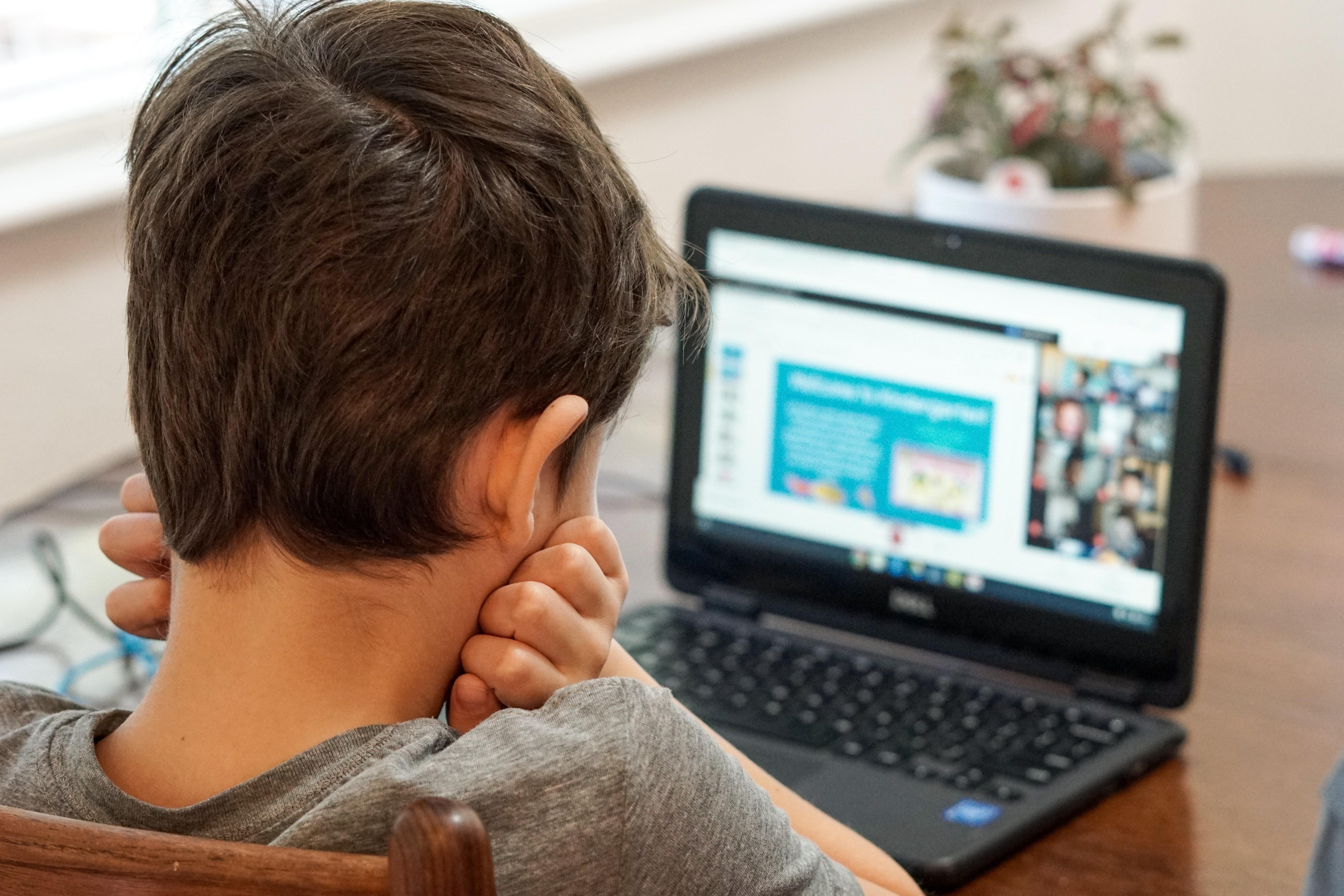 kid in front of laptop - drdp online